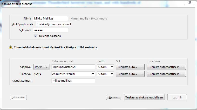 Mozilla Thunderbird - asetusten tarkistus - Sigmatic